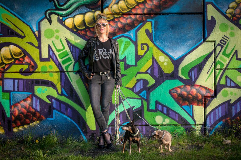 Portret graffiti muur